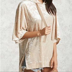 NWT Forever 21 Crushed Velvet Hooded Top Champagne